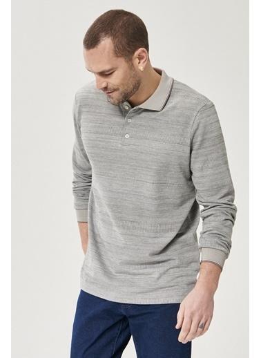 AC&Co / Altınyıldız Classics Slim Fit Dar Kesim Günlük Rahat Spor Polo Yaka Sweatshirt 4A5221200009 Gri